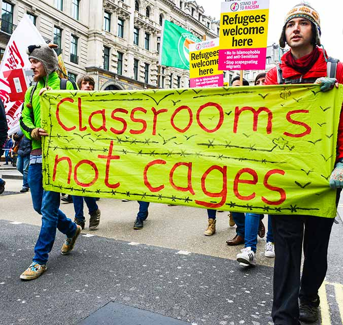 Education-Classrooms-Not-Cages-London-Demonstration-Banner