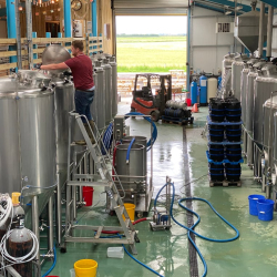 Production-worker-producing-beer-at-brewery